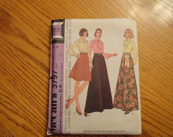 McCalls Misses size 16 Bust 38 Blouse and Skirt Sewing Pattern 1973 Vintage