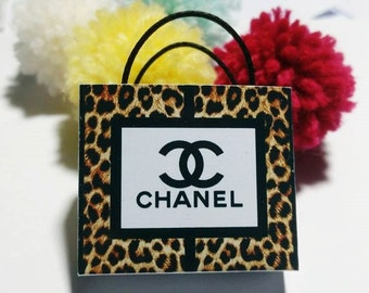 Dollhouse Miniature Brandname Shopping Paper Bag 1:12 Scale