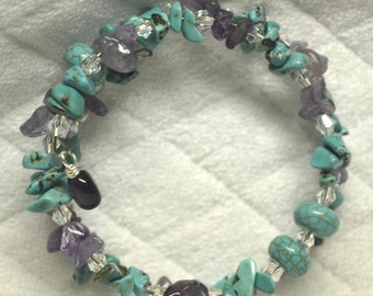 Turquoise and Amethyst Memory Wire Bracelet, Gift For Her, Trendy, Chic, Boho, Jewelry Box