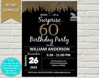Surprise 60th birthday invitations – Etsy