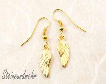 earring angel wings gold plated #4262