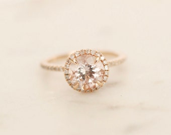 Diamond Halo Rose Gold Morganite Engagement Ring, Rose Gold Morganite Ring, Diamond Halo around Morganite, Halo Engagement Ring