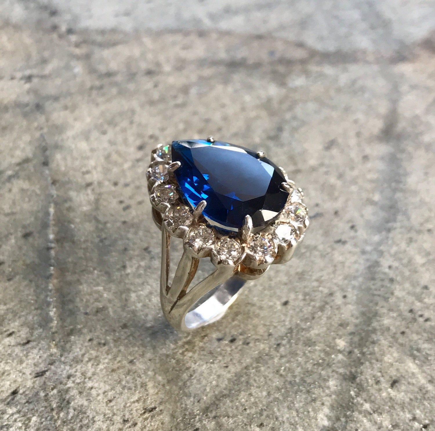 Blue Sapphire Ring Kate Middleton Ring Created Sapphire