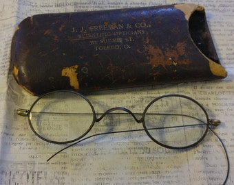 Antique Pair of Eyeglasses with Case
