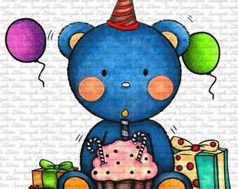 Birthday Teddy Digital Stamps By Sasayaki Glitter