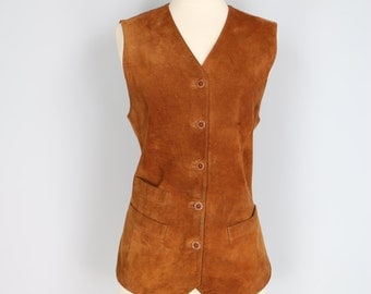 1970s Vest - Caramel Suede Leather Vest - Brown Rust Waistcoat - Three Pockets Tie Back, Button Front High V-neck Gilet Size Medium Large