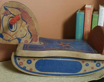 Vintage Wooden Rocking Horse/Small Decorative Rocking Horse/Nursery/Baby Shower Decor/Doll Rocking Horse/Photo Prop/Collectible/Upcycle