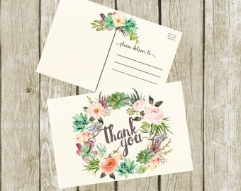 Thank You Postcards. Succulent Thank you Cards Printable, Succulent Thank You Postcards 4x6, Digital Postcard, Instant Download