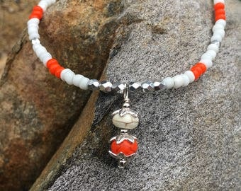 Beach Anklet, Ankle Bracelet, Orange Anklet, Beaded Anklet, Anklet
