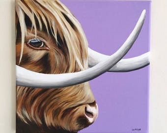 Highland cow 'Marilyn Moo' giclee print of original painting, made in Scotland by Scottish artist. Unique present, cow art framed print