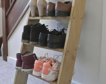 Solid Wood Shoe Rack Oak colour storage shelf