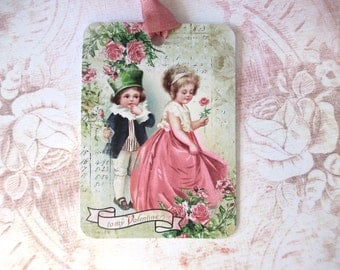 Tags, Gift Tags, Valentines Day, Valentine Tags, Vintage Tags, Vintage Children, Vintage Valentine, Valentine Children