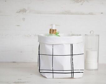Minimalist check fabric organizer basket, bin in Black and white, Modern nordic style