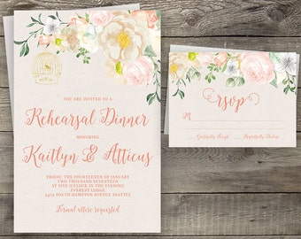 Floral Pink Calligraphy Rehearsal Dinner Party Invitation Printable Boho Chic Party Invite Suite Bohemian Invite Spring / Summer Wedding