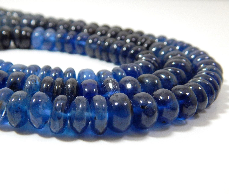 kyanite smooth rondelle beads 100 natural gemstone rondelle. Black Bedroom Furniture Sets. Home Design Ideas