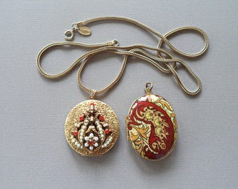 Pair of Lockets Enamel Rhinestone Pearls with Signed Vendome Chain Necklace
