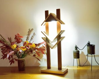 Beech and Sipo Wood Lamp,