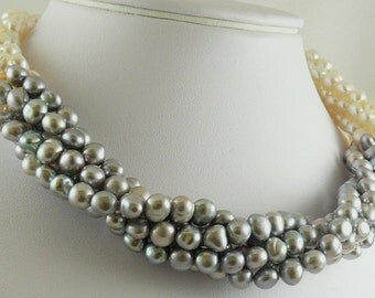 Freshwater 6.5mm - 7mm Gray & White Pearl Choker Necklace Silver Lock 18 1/2""
