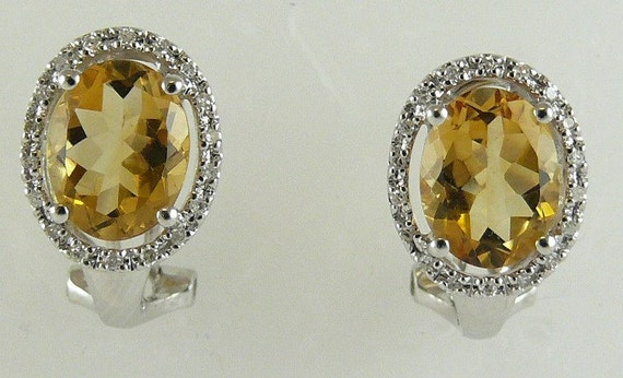 Citrine 3.31ct Earring with Diamonds 0.11ct 18K White Gold