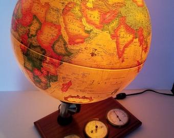 Vintage Light Up Globe/Weather Station