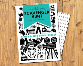 SCAVENGER HUNT INVITATION | Scavenger Hunt Birthday | Shopping Mall Scavenger Hunt