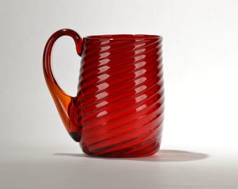 Hand blown glass Mug Red w/swirl design