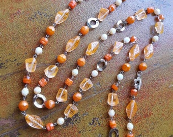 Orange long necklace, double wrap necklace, gift ideas for her