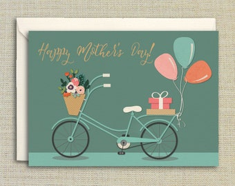 Floral Bicycle, Happy Mother's Day- Mother's Day Card, Floral Mother's Day Card, Balloons, Bike, Bicycle, Card Set, Set