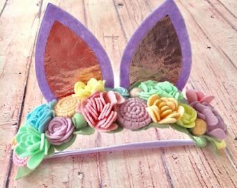 Sale!!!! READY TO SHIP Bunny Ears - The Lavender Rabbit Bunny Ear Felt Flower Crown.