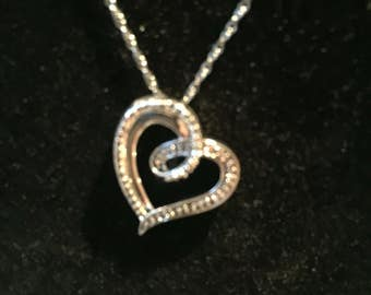 Vintage Sterling Silver Heart Pendant Necklace - AB