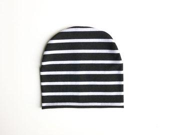 Black and White Stripe slouchy beanie, baby slouchy beanie, toddler beanie, hipster beanie