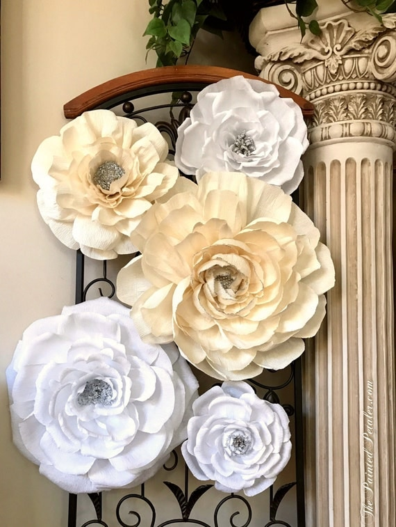 "Glitter Crepe Paper Flower Wall, Set of 5 Unique Flowers 8""-16"", 