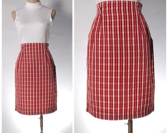 Vintage red check pencil skirt ELLE GOLF