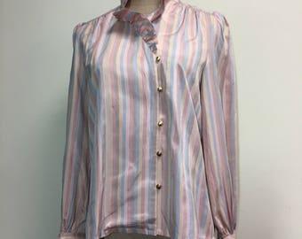 Vintage powder rainbow stripe pink blue ruffle blouse