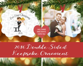Our First Christmas Married Ornament - Wedding Photo Ornament - Wedding Ornament - Newlywed Ornament - Newlywed Gift