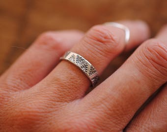 Stamped Flat Band   Stacking Ring   Sterling Silver