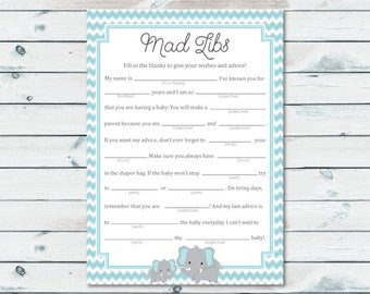 Blue And Gray Elephant Mad Libs, Baby Shower Mad Libs Printable Cards, Blue Elephant Mad Libs Advice Cards, Elephant Baby Shower