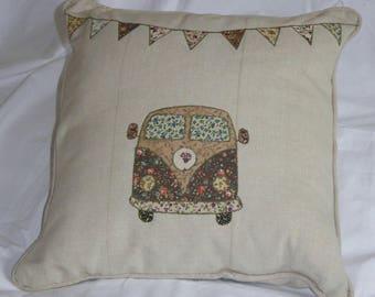 Vintage style VW Campervan applique cushion cover
