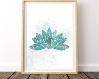 Printable Yoga Art, Yoga Print Art, Stress Relief, Lotus Flower, Lotus Poster, Art Above Bed, Yoga Art for Bedroom, Bohemian Bedroom