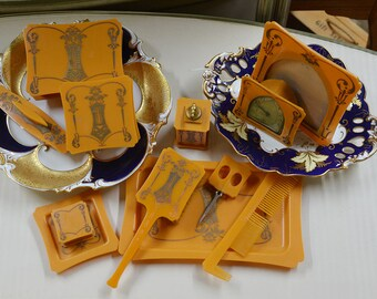 1920s Vintage 12-piece Orange Celluloid Vanity Set