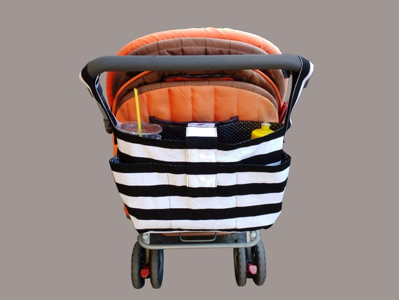 stylish pram caddy / stroller organiser / pram bag - Black and white stripes