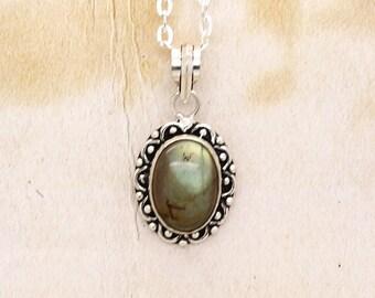 Labradorite Gemstone Pendant On Silver Tone Chain Necklace