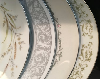 Mismatched China Dinner Plates - Set of 4 - Collection #105 / Vintage Dinnerware / Dish Set