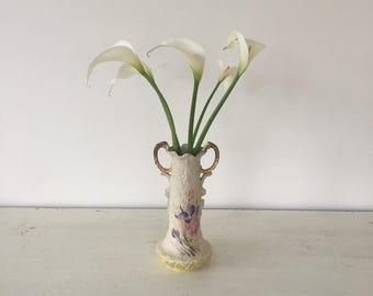 Vintage French ceramic gold leaf vase