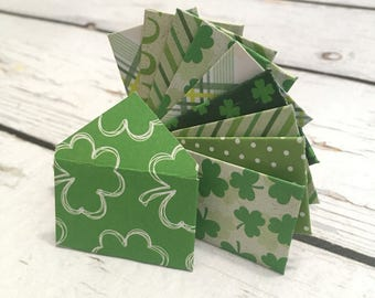 """Teeny tiny itty bitty mini St. Patrick's Day or leprechaun  envelopes with tiny note cards 1x1.5"""""""