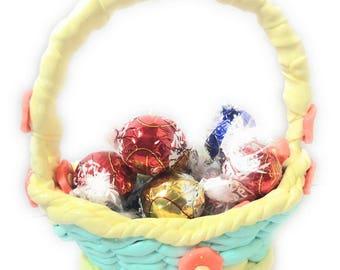 Easter basket basket/fimo/basket / customizable / idea gift/fact hand/green/deco of table for Easter/child/custom basket