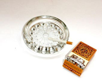 Cigar glass ashtray  Vintage glass ashtray  The Soviet Union of the 80s Unique vintage ashtray Retro crystal ashtray ash-pot ash-stand