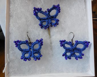 Delicate blue tatted butterfly Earings with matching hair pin.  Enhanced with cobalt blue glass seed beads.  Completely handmade.