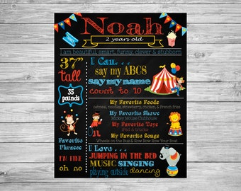 Circus, Carnival, Party Decorations, Circus Birthday, Carnival Chalkboard, 2nd Birthday Circus Birthday Poster, Carnival Theme Party