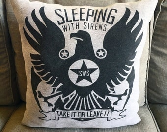 """Sleeping With Sirens """"Take It Or Leave It"""" Gray And Black Cotton Handmade Throw Pillow"""